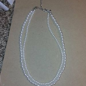 Elegant double beaded pearl necklace
